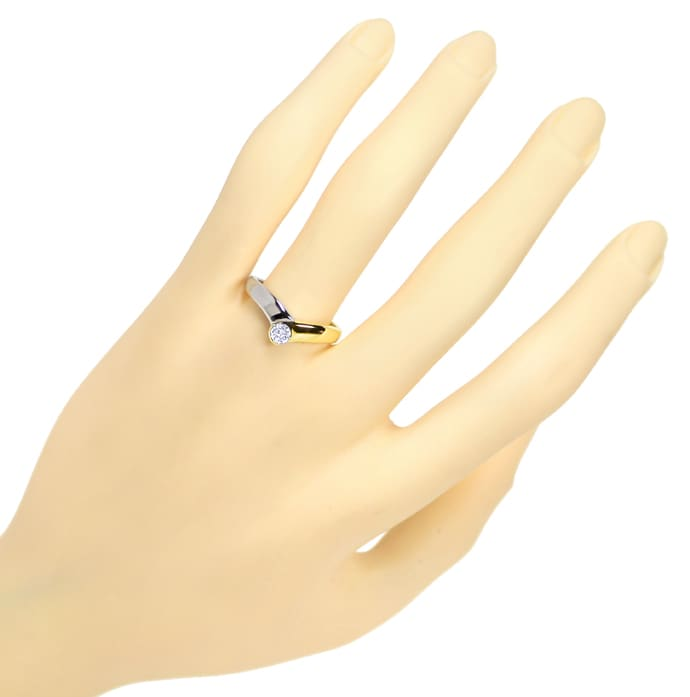 Foto 4, Diamantring V Form mit 0,20ct Brillant 14K Bicolor Gold, S1731
