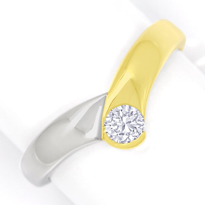 Diamantring V Form mit 0,20ct Brillant 14K Bicolor Gold, Designer Ring