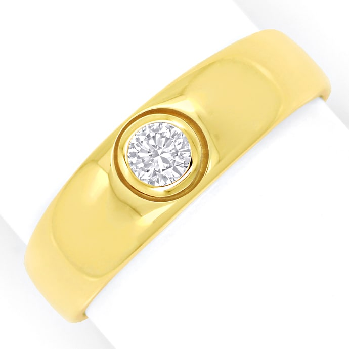 Herren Bandring mit 0,26ct Brillant Solitär in Gelbgold, Designer Ring