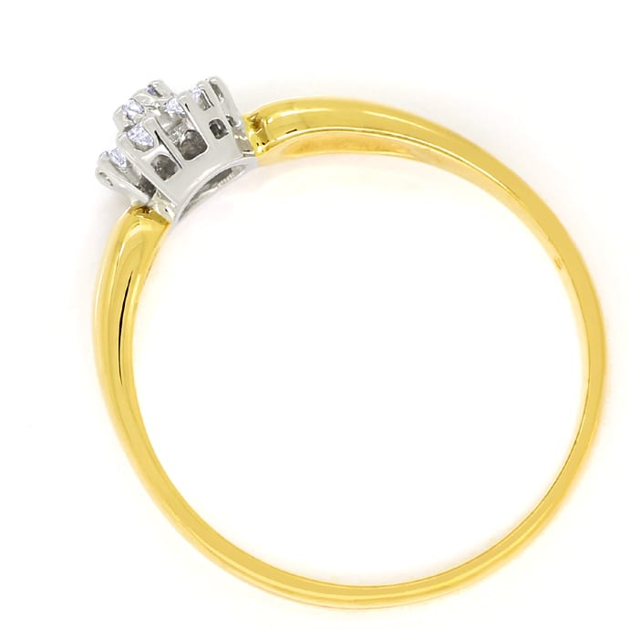 Foto 3, Diamantring Gold mit 0,17ct Brillanten in einer Rosette, S1769