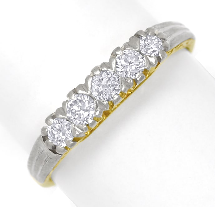 Foto 2, Diamanten Halbmemory Ring 0,50ct Brillanten Gold Platin, S1772