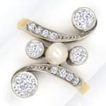 Jugendstil Ring mit Perle 0,85ct Diamanten, Gold Platin