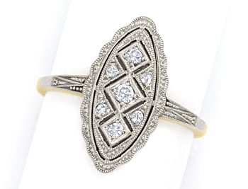 Foto 1, Antiker ArtDeco Ring 0,1ct Diamanten in Gold und Platin, S1781