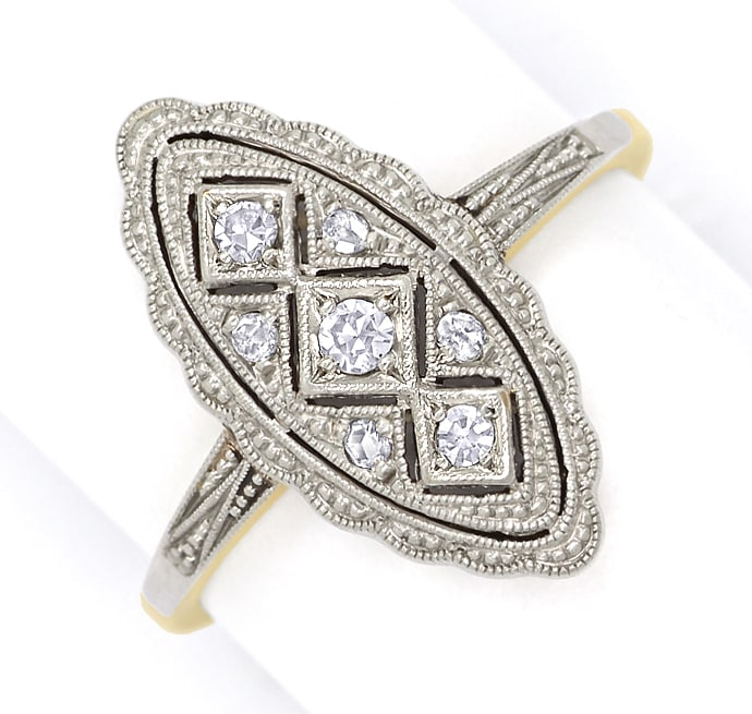 Foto 2, Antiker ArtDeco Ring 0,1ct Diamanten in Gold und Platin, S1781