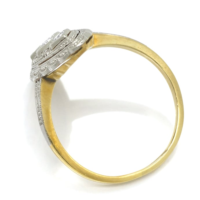 Foto 3, Antiker ArtDeco Ring 0,1ct Diamanten in Gold und Platin, S1781