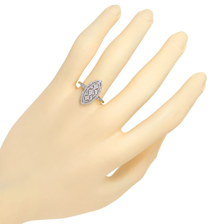 Foto 4, Antiker ArtDeco Ring 0,1ct Diamanten in Gold und Platin, S1781