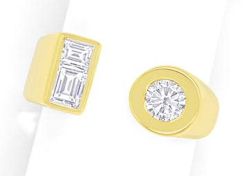 Foto 1 - Design Goldring Brilliant Solitär und Diamant Baguetten, S1796