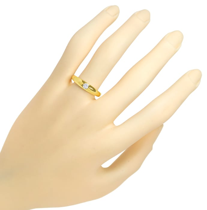 Foto 4, Bandring mit 0,15ct Brilliant Solitär in 585er Gelbgold, S1801