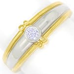 Design Diamantring mit Brillant Solitär in Gold Bicolor