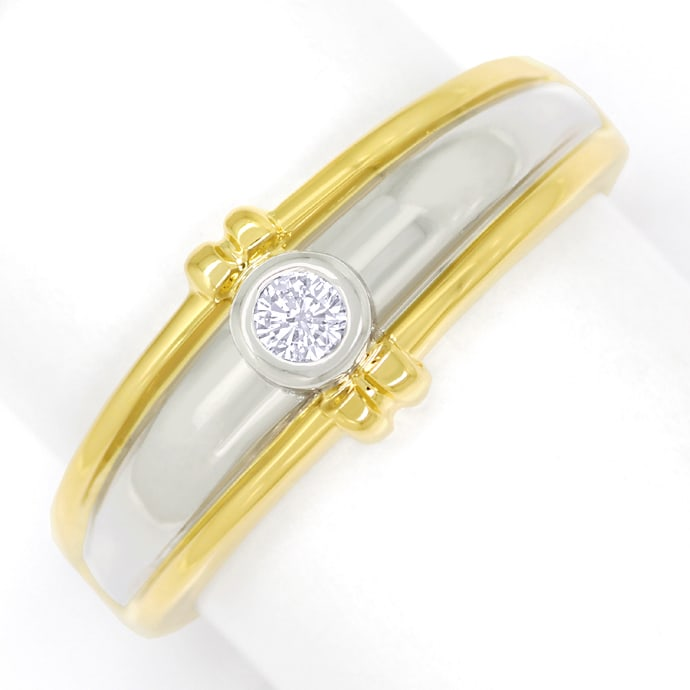 Design Diamantring mit Brillant Solitär in Gold Bicolor, Designer Ring