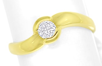 Foto 1, Diamantring mit 0,23ct lupenreinem Brillant in Gelbgold, S1806