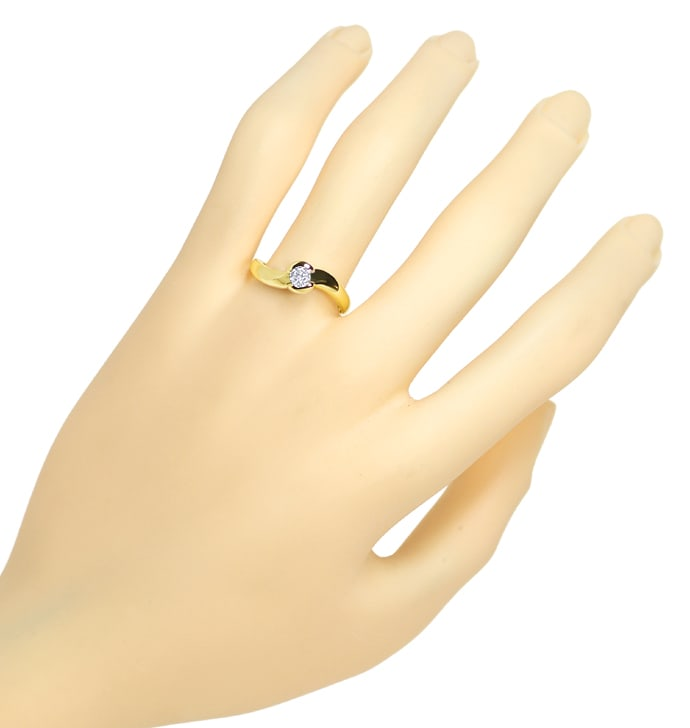 Foto 4, Diamantring mit 0,23ct lupenreinem Brillant in Gelbgold, S1806