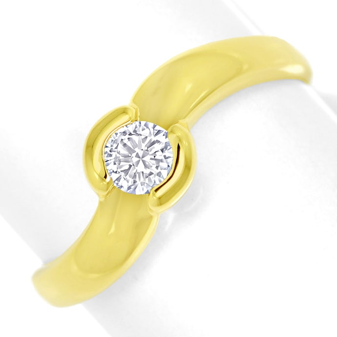 Diamantring mit 0,23ct lupenreinem Brillant in Gelbgold, Designer Ring