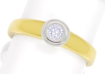 Foto 1 - Diamantring mit 0,15ct Brillant Solitär in Bicolor Gold, S1808