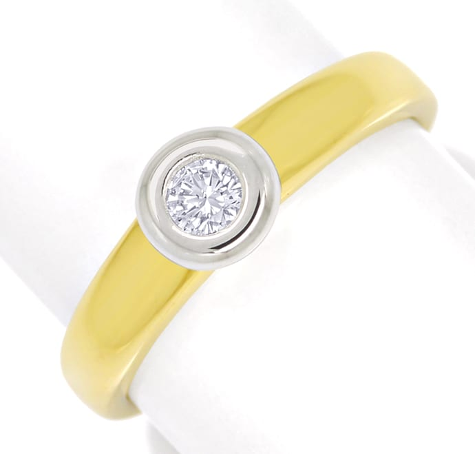Foto 2 - Diamantring mit 0,15ct Brillant Solitär in Bicolor Gold, S1808