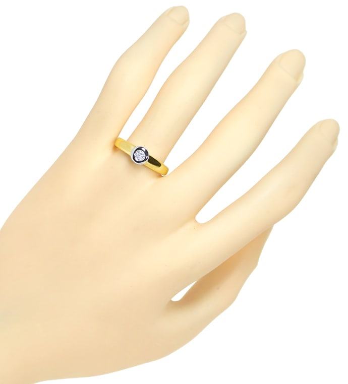 Foto 4 - Diamantring mit 0,15ct Brillant Solitär in Bicolor Gold, S1808