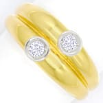 Doppelbandring mit 0,16ct Brillianten in 585er Gelbgold