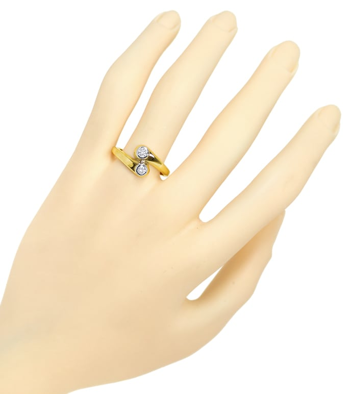 Foto 4, Diamantring Toi et Moi lupenreine Diamanten in 14K Gold, S1813