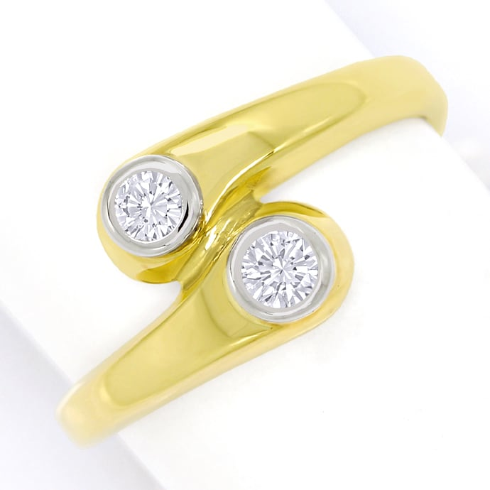 Diamantring Toi et Moi lupenreine Diamanten in 14K Gold, Designer Ring