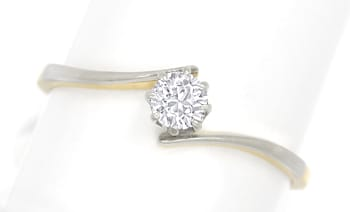 Foto 1, Diamantring antik mit 0,27ct Diamant in Platin Gelbgold, S1816