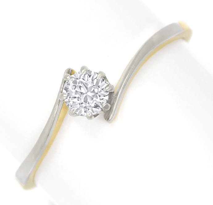 Foto 2, Diamantring antik mit 0,27ct Diamant in Platin Gelbgold, S1816