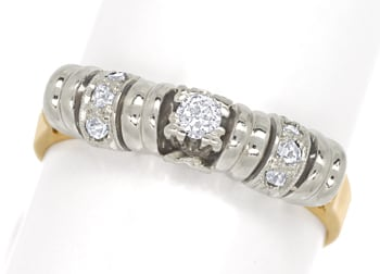 Foto 1, Antiker Diamantring Altschliff Diamantrosen in 14K Gold, S1817