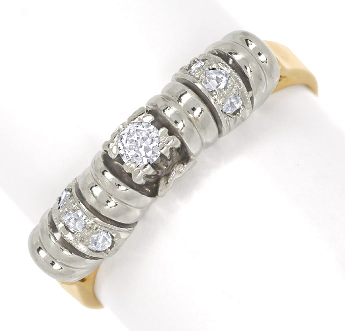 Foto 2, Antiker Diamantring Altschliff Diamantrosen in 14K Gold, S1817