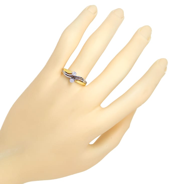 Foto 4 - Diamantring Toi et Moi mit 0,16ct Brillanten 585er Gold, S1821