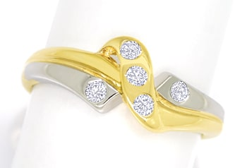 Foto 1, Design Diamantring 0,12ct Brillanten Gelbgold Weissgold, S1825