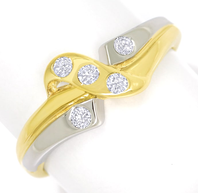 Foto 2, Design Diamantring 0,12ct Brillanten Gelbgold Weissgold, S1825