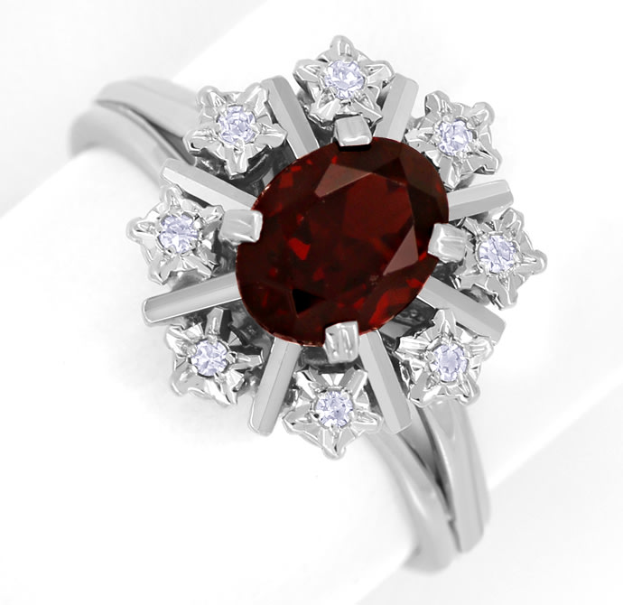 Foto 2, Diamantring 1,55ct Rhodolit und 8 Diamanten in Weißgold, S1826