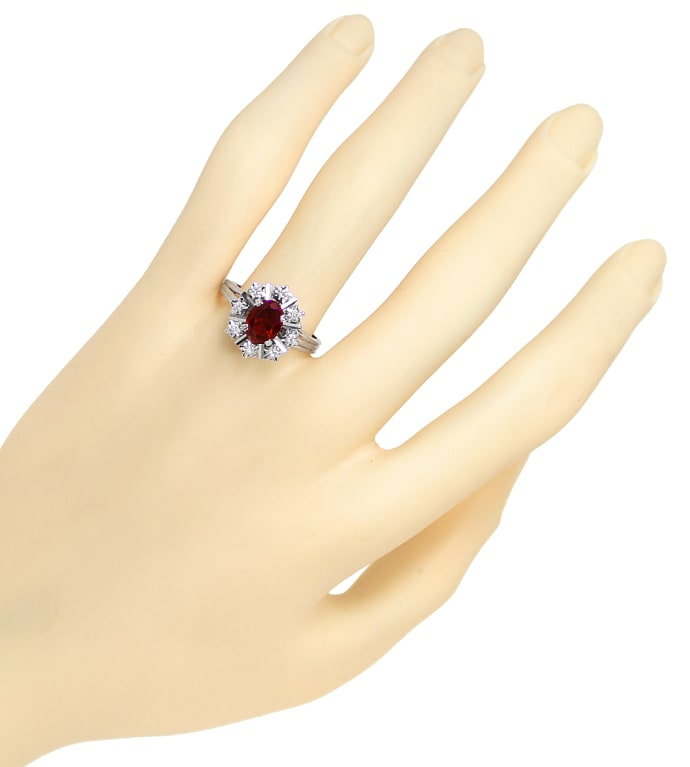 Foto 4, Diamantring 1,55ct Rhodolit und 8 Diamanten in Weißgold, S1826
