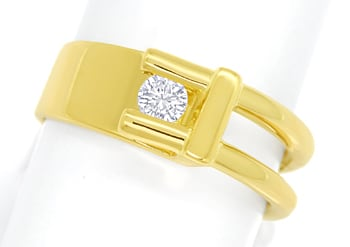 Foto 1, Design Diamantring mit 0,16ct lupenreinem Brillant Gold, S1827