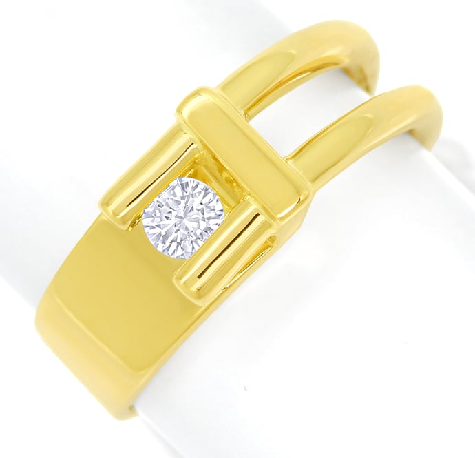 Foto 2, Design Diamantring mit 0,16ct lupenreinem Brillant Gold, S1827
