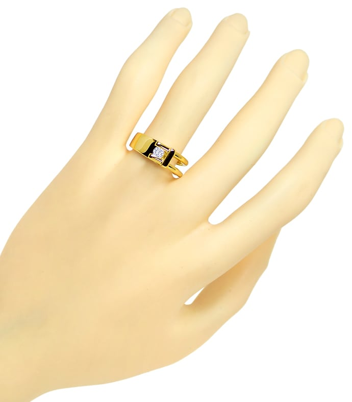 Foto 4, Design Diamantring mit 0,16ct lupenreinem Brillant Gold, S1827
