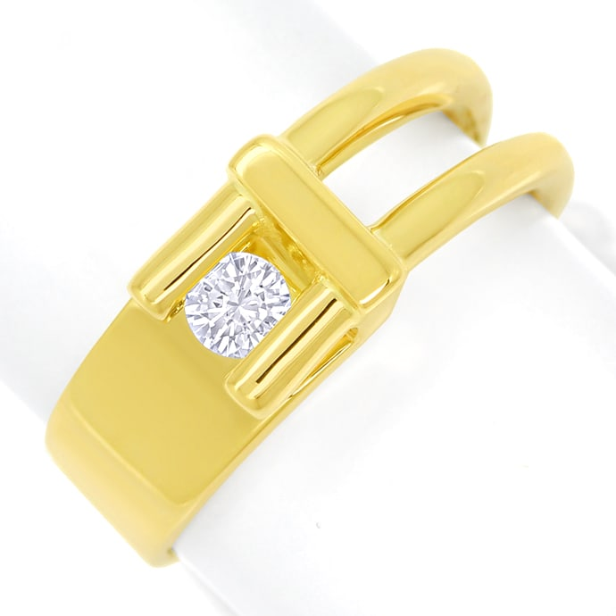 Design Diamantring mit 0,16ct lupenreinem Brillant Gold, Designer Ring