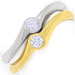 Diamantring Bicolor Zwei in Eins mit 0,24ct Brillianten