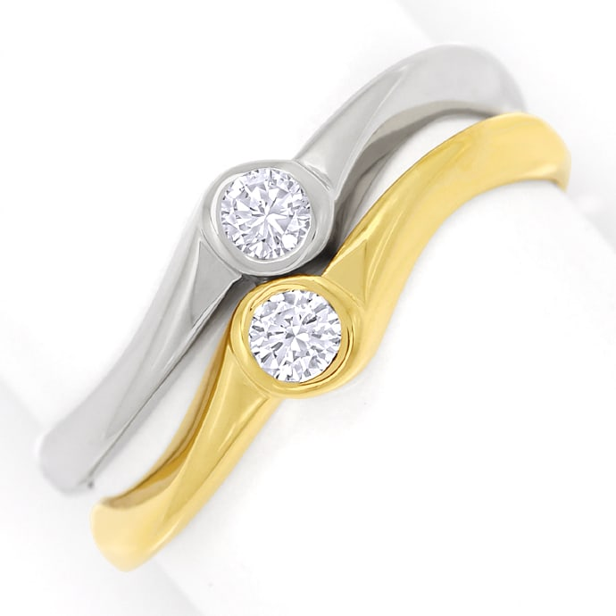 Diamantring Bicolor Zwei in Eins mit 0,24ct Brillianten, Designer Ring