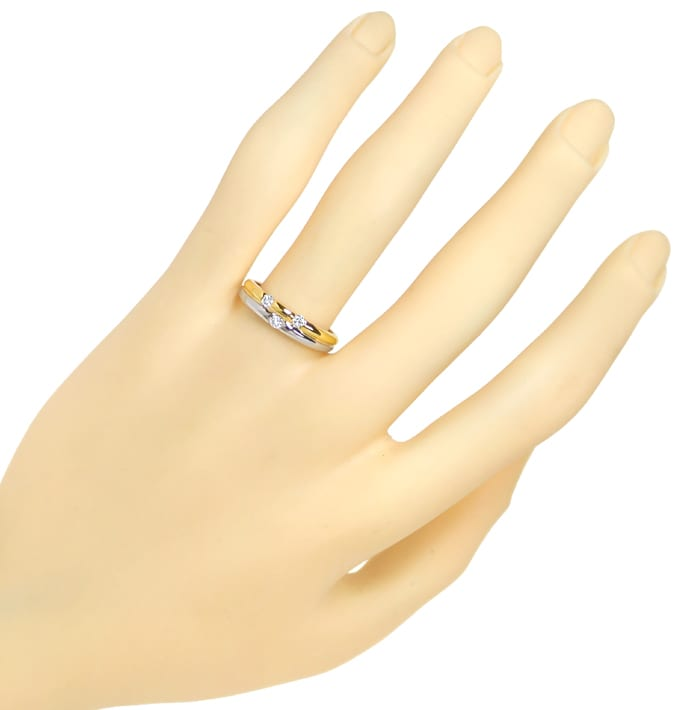 Foto 4, Diamantenring Bicolor mit 0,15ct Brillanten in 18K Gold, S1831