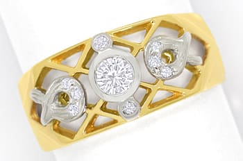 Foto 1 - Filigraner Bandring mit 0,20ct Brillanten in 750er Gold, S1832