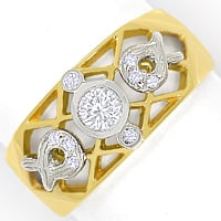 zum Artikel Filigraner Bandring mit 0,20ct Brillanten in 750er Gold, S1832