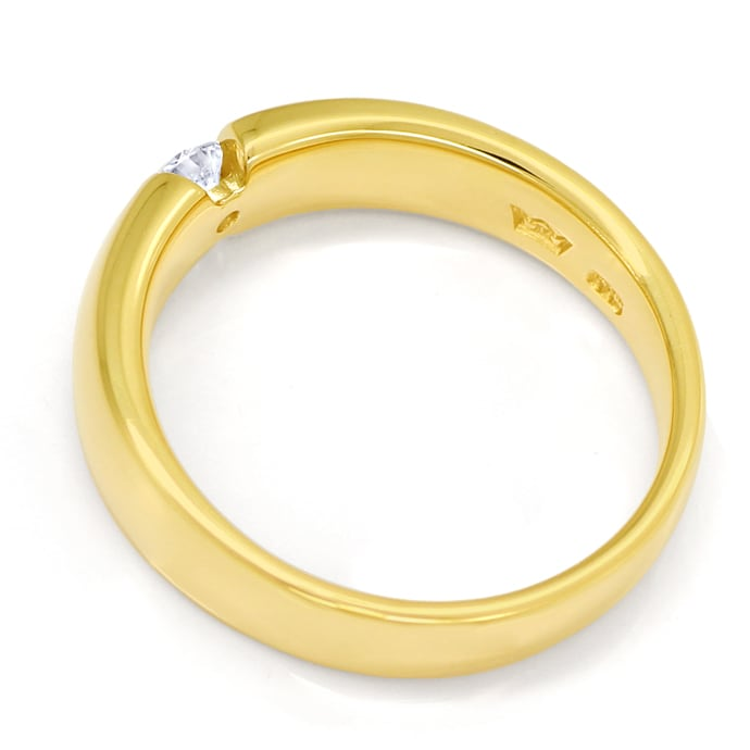 Foto 3, Diamantring mit 0,19ct Solitär Brillant in 14K Gold, S1836