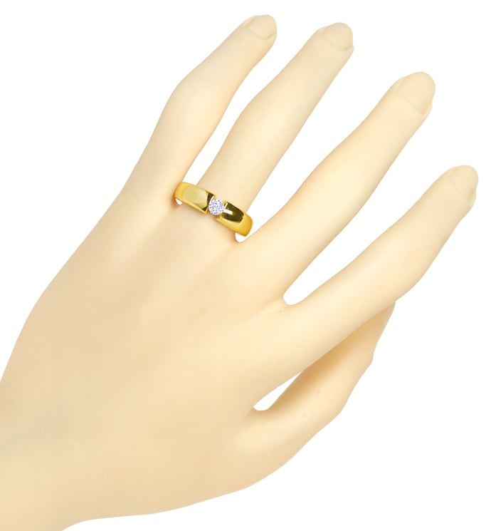 Foto 4, Diamantring mit 0,19ct Solitär Brillant in 14K Gold, S1836