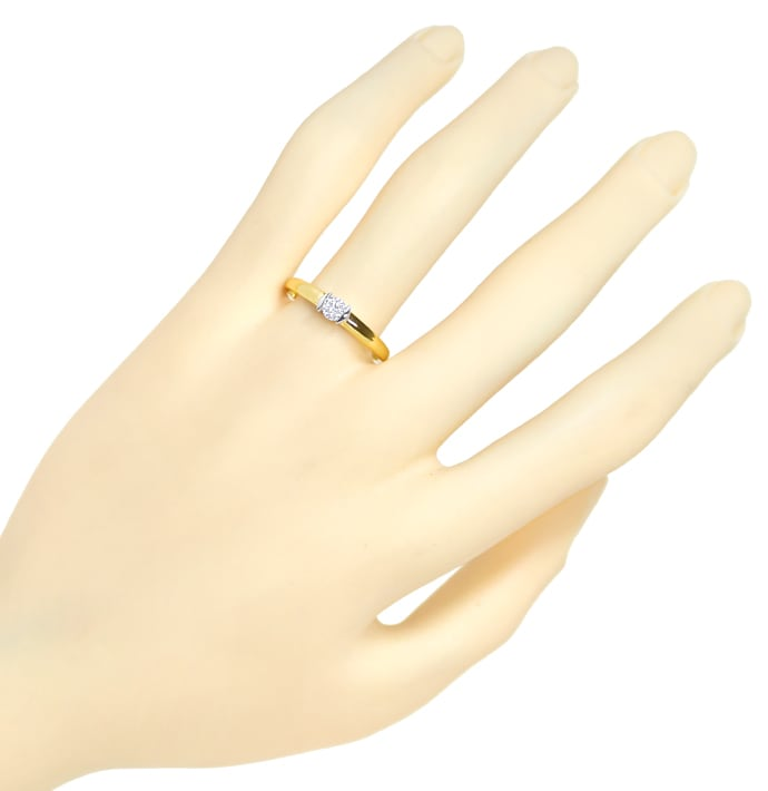 Foto 4, Diamantring 0,2ct lupenreiner Solitär Brillant 585 Gold, S1837