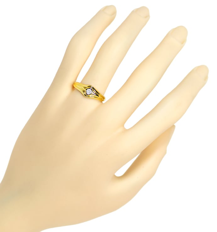 Foto 4 - Design Bandring mit 0,09ct Brillant Solitär in Gelbgold, S1841