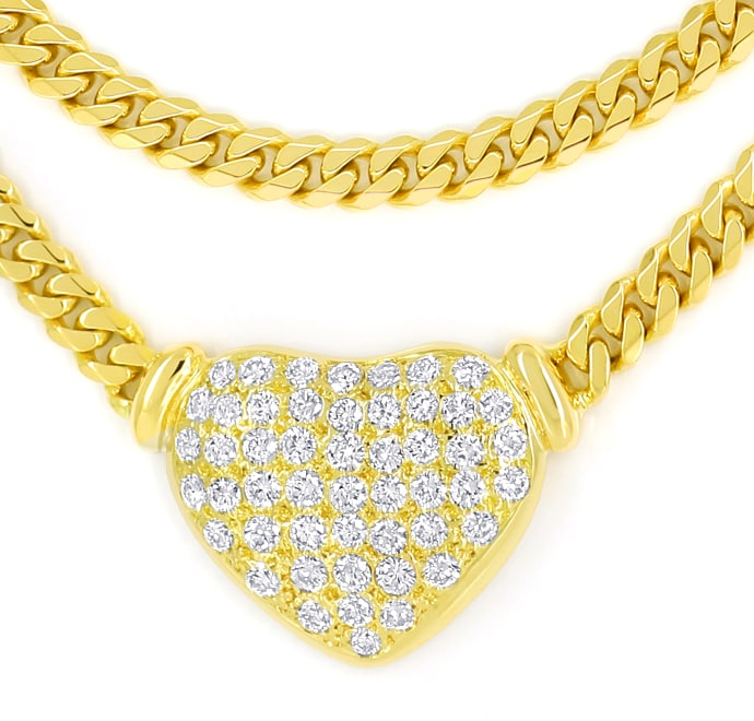 Foto 2 - Herz Collier Pavee mit 1,85ct Diamanten in 18K Gelbgold, S1849