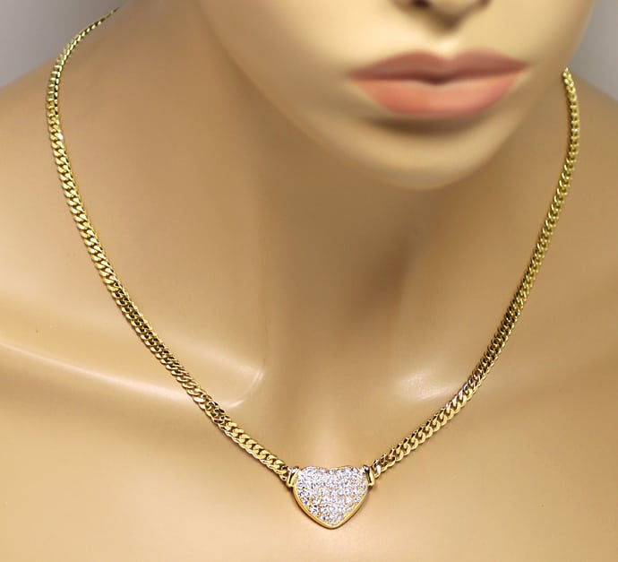 Foto 4, Herz Collier Pavee mit 1,85ct Diamanten in 18K Gelbgold, S1849