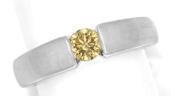 Foto 1, Diamantring 0,57ct Goldenem Brillant 18K Weißgold, S1856