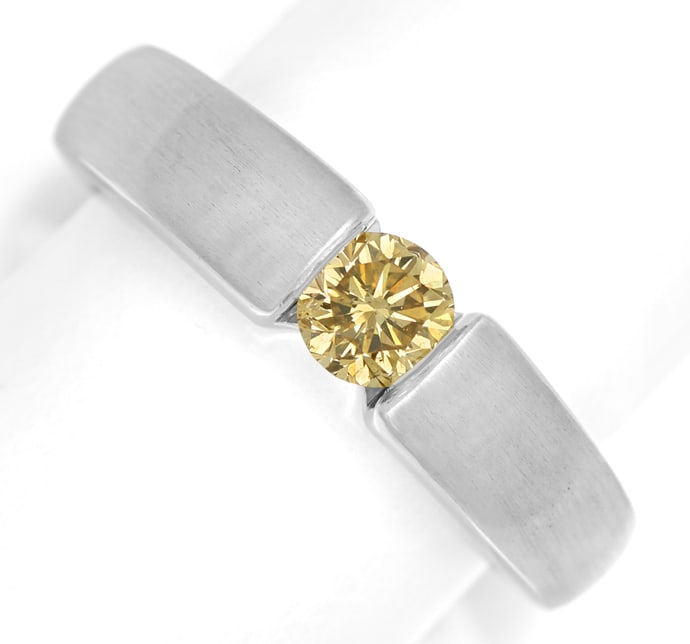 Foto 2, Diamantring 0,57ct Goldenem Brillant 18K Weißgold, S1856