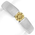 Diamantring 0,57ct Goldenem Brillant 18K Weißgold